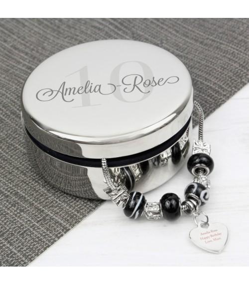 Personalised Age Trinket Box & Heart Charm Bracelet