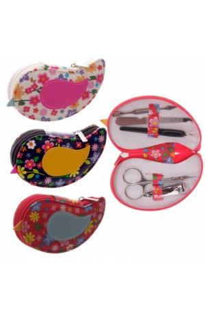 Cute Flower Pattern Bird Manicure Set