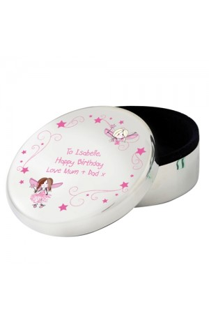 Fairy Round Trinket Box Personalised