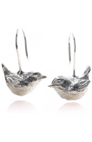 Little Bird Earrings Handmade in Lead-free Pewter