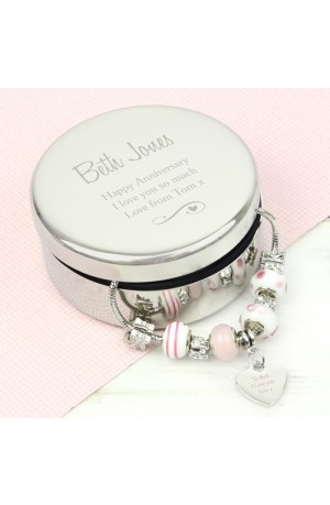 Personalised Trinket Box With Pink Heart Charm Bracelet
