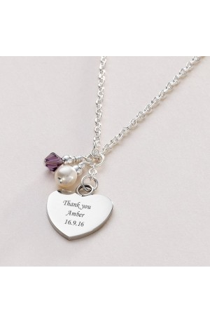 Silver Birthstone & Pearl Engraved Necklace
