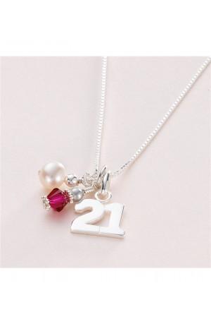 21st Birthday Sterling Silver Birthstone Necklace