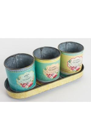 Flower Garden Round Tins In Tray