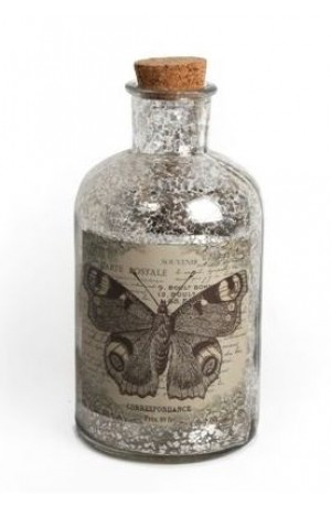 Antique Effect Glass Butterfly Bottle