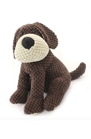 Sitting Knitted Dog Doorstop with Engraved Message Heart