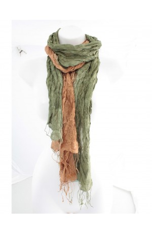 Fair Trade Olive Silk Wrinkle Scarf by Earth Squared