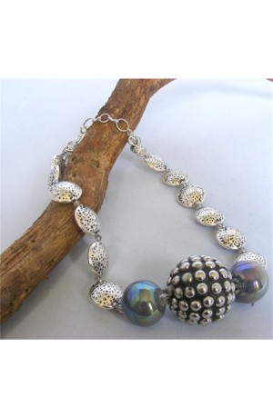 Large Beads and Silver Nugget Necklace by Kirsty Allan