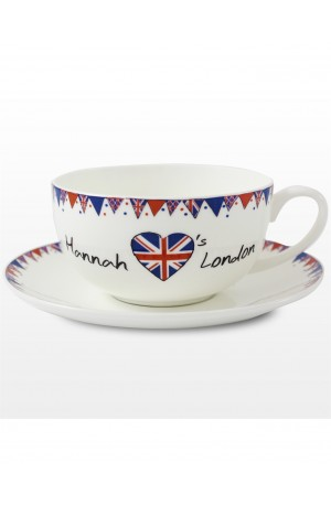 Personalised Teacup and Saucer - Union Jack