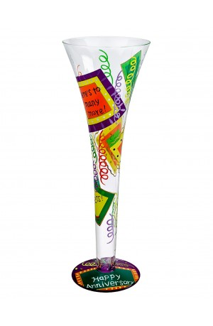 Lolita Happy Anniversary Hand Painted Champagne Glass