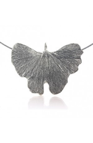Wide Ginkgo Leaf Pewter Necklace by Glover and Smith