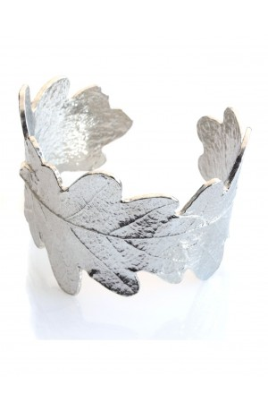 Oak Leaf Pewter Cuff Bangle by Glover and Smith
