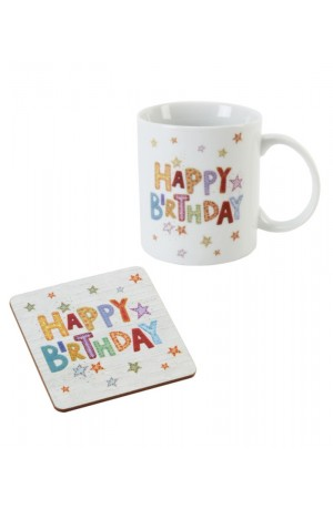 Happy Birthday Mug and Coaster Set