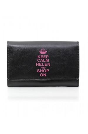Black Keep Calm Leather Purse