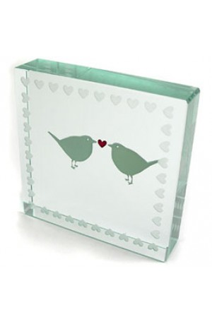 Spaceform Lovebirds Paperweight