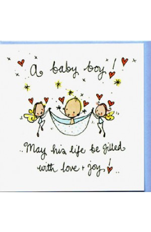Fairy Baby Boy Card by Juicy Lucy