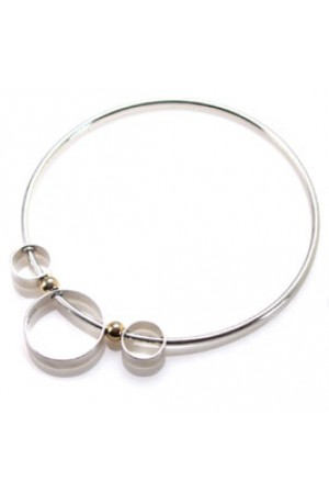 "Handmade Orbital"" Bangle in Silver and 18ct Gold"""