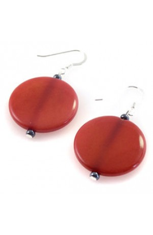 Red Tagua Nut Earrings by Felicity Gail