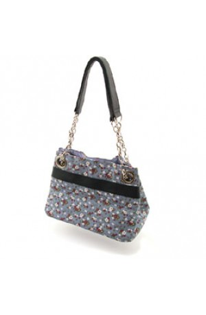 Fair Trade French Navy Flower Print Handbag by Earth Squared