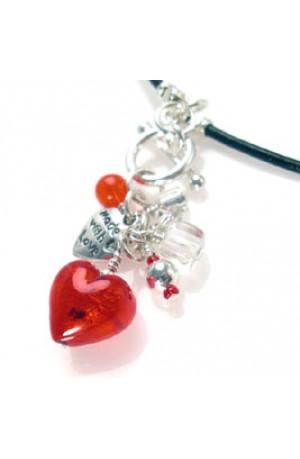 Vannertee Flame Murano Heart Pendant Necklace