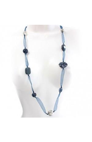 Nkuku Blue Matemwe Fair Trade Necklace -- MT2688
