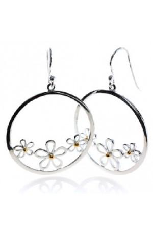 Daisies Silver Hoop Earrings by Sea Gems
