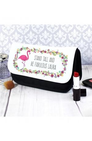 Cute Personalised Flamingo Make Up Bag