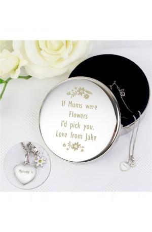 Engraved Floral Trinket Box & Silver Heart Pendant Gift Set