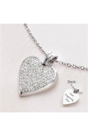 Engraved Heart Crystal Necklace