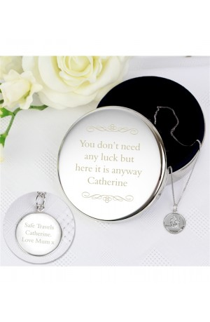 Engraved Round Trinket Pot & Silver St Christopher Pendant Gift Set