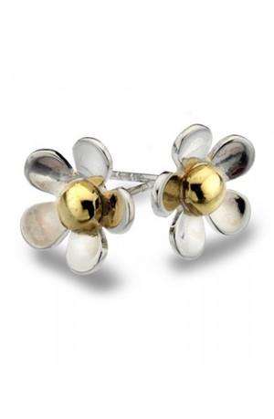 Flower & Brass Earrings by Sea Gems
