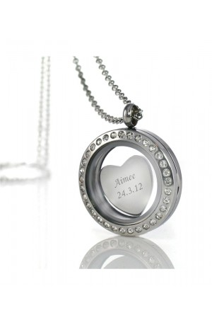 Glass Locket With Engraved Charm