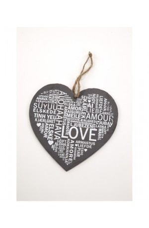Hanging Heart Love Slate Sign