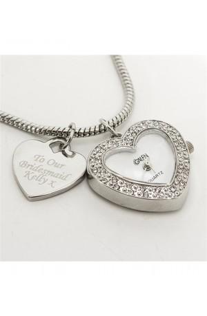 Heart Watch Charm Personalised Bracelet