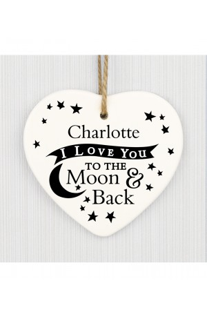 I Love You to the Moon and Back Personalised Ceramic Heart