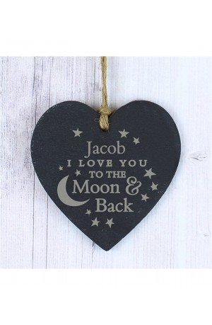 I Love You to the Moon and Back Personalised Slate Heart