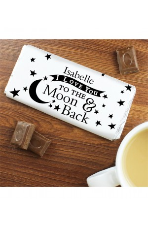 I Love You TO THE Moon & Back Personalised Chocolate Bar