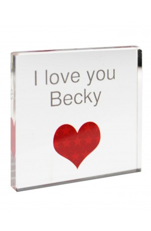Personalised 'HEART' Glass Block