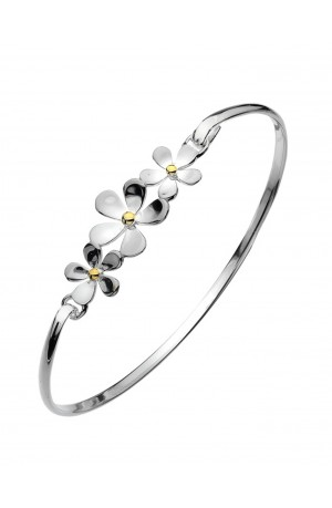 Sea Gems Sterling Silver Triple Daisy Bangle - P1507