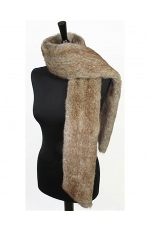Truffle Faux Fur Long Scarf by Moore and Moore