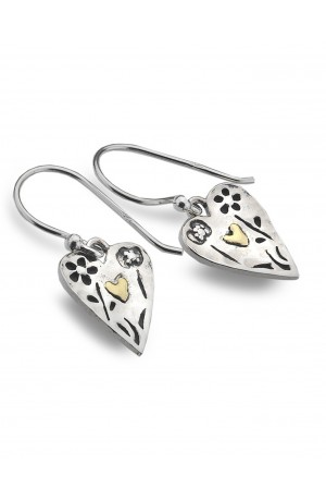 Heart & Brass Earrings by Sea Gems