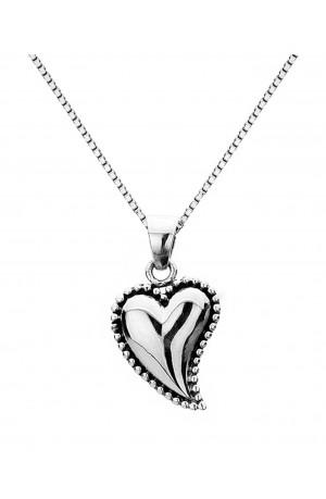 Sea Gems Silver Oxidized Heart Ball Edge Pendant