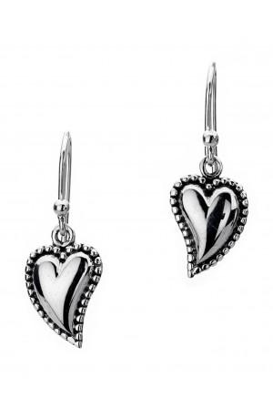 Sea Gems Silver Oxidized Heart Ball Edge Drop Earrings
