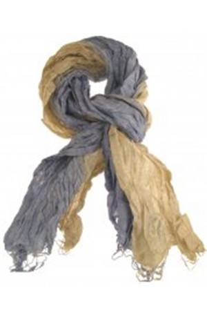 Navy and Sandshell Silk Wrinkle Scarf by Earth Squared