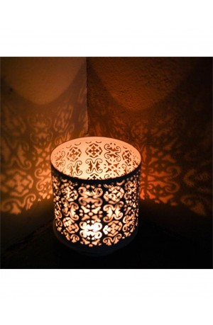 Distressed White Taj T-Light Holder by Nkuku