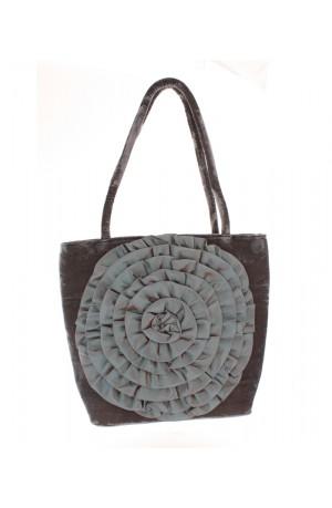 Lua Velvet Flower Shoulder Bag in Mink -- BA409