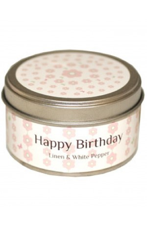 Happy Birthday Candle - Linen and White Pepper