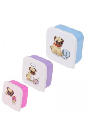 Set of 3 Pug Lunch Boxes