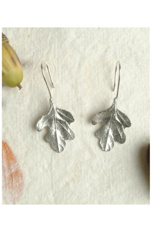 Lead-free Pewter Oak Leaf Earrings by Glover and Smith