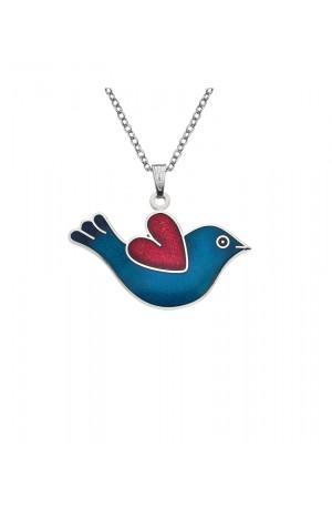 Love Bird Enamel Necklace